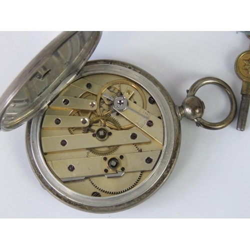 653 - A silver full hunter key wind pocket watch with cylinder movement, ruby endstone, case stamped fine ...