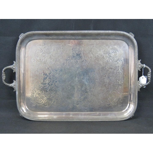 863 - A large silver-plated two-handled serving tray 62cm x 37....