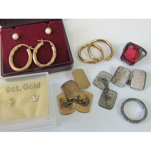 402 - A quantity of gold and silver jewellery; 9ct gold hoop earrings 1g, 9ct gold swallow earrings, 9ct g...