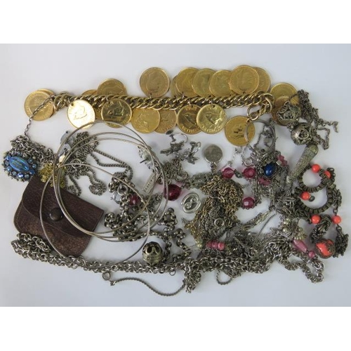 422 - Vintage costume, white metal and silver jewellery including; bracelet stamped 925, pendant with lapi...