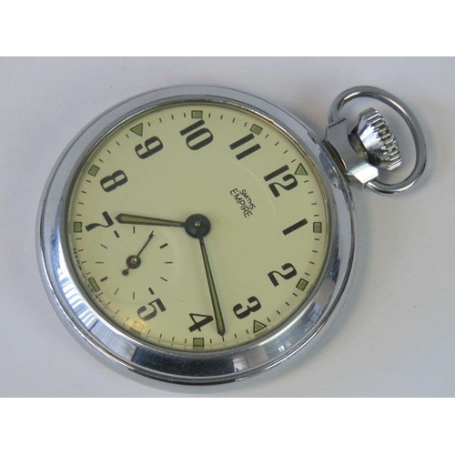650 - A Smiths Empire pocket watch complete with box, No 612EM, cream dial with black Arabic numerals and ...