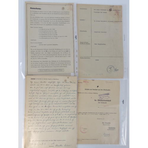 13 - A quantity of German WWII NSDAP personnel documents includes; a recommendation for party office, app...
