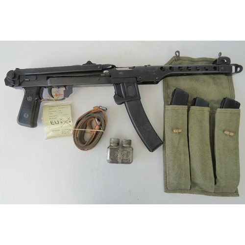 26 - A deactivated Polish PPS-43 SMG, with EU specification certificate, also with three spare magazines ...