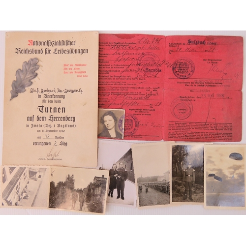 32 - A quantity of ephemera including; German sports citation with metal oak leaf dated 1940, ID card wit...