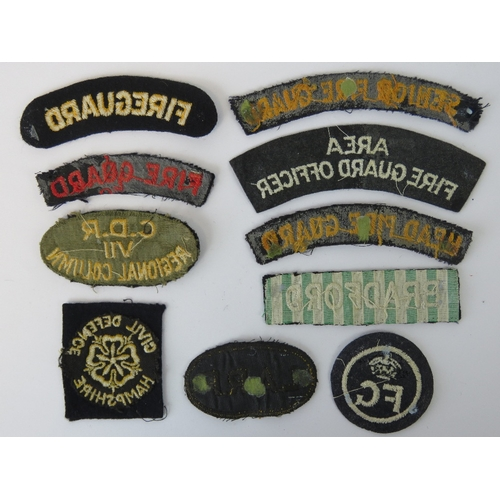 38 - A quantity of cloth badges including; Head Fire Guard, Senior Fire Guard, L.A.R.P etc. Ten items....