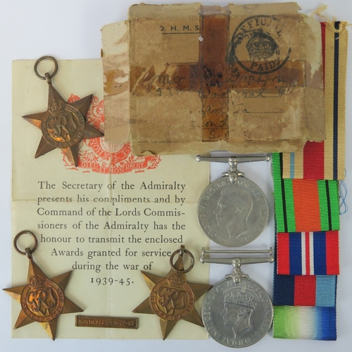 42 - A WWII medal collection with original box marked for (Mr. Drafer?) complete with secretaries letter ...