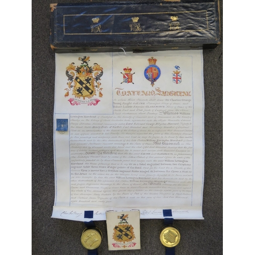 621 - Of Australian Interest; An original Grant of Arms bearing the seals of the Heralds, Garter and Clare...