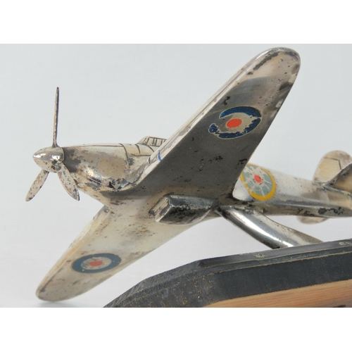11 - WWII - Hawker Hurricane motorcar mascot; A good representation off the famous Battle of Britain fron...