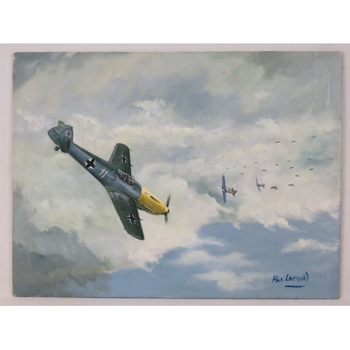 16 - Alex Leonard ''Battle of Britain'' - An original painting depicting a typical incident during the ae...