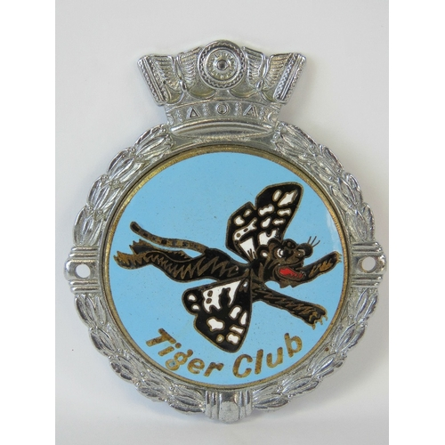 19 - Tiger Club - A scarce early post-war members badge by J.R. Gaunt c1950s; decorative relief design en...