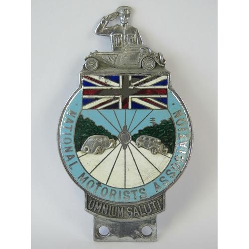 3 - National Motorists Association - A scarce pre-war member's club Car Badge c1930s; heavily embossed r...