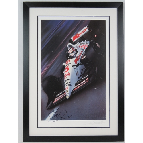 30 - A Indy Car poster after Gavin MacLeod, circa 1993, signed by Nigel Mansell, framed, 70cm x 45cm....