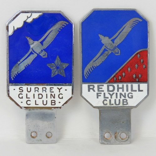 32 - Redhill Flying Club & Surrey Gliding Club - Two paired members' car badges c1930s; twinned decorativ...