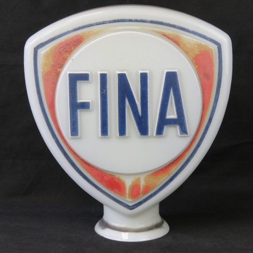 2 - A vintage original glass advertising petrol pump globe for Fina, made by 'Stevens and (?) Ltd', stan...