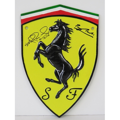 25 - A cast metal 'Ferrari' shield sign signed by Mansell and Brooks....