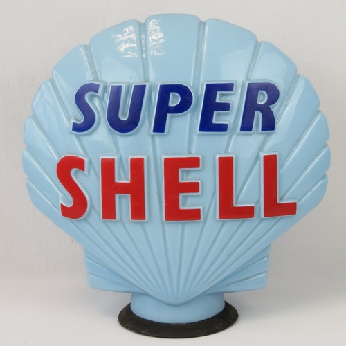 37 - A vintage original glass advertising petrol pump globe for Super Shell, marked 'Hailware British Mad...