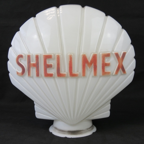 38 - A vintage original glass advertising petrol pump globe for Shell Mex, marked 'Hailware British Made'...