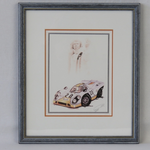 27 - Coloured print; a Porsche 917 and Steve McQueen, signed by the artist, 20cm x 15cm....