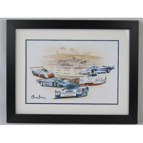 31 - Coloured print; signed by Derek Bell, five times Le Mans winner, double mounted and framed, 26cm x 3...