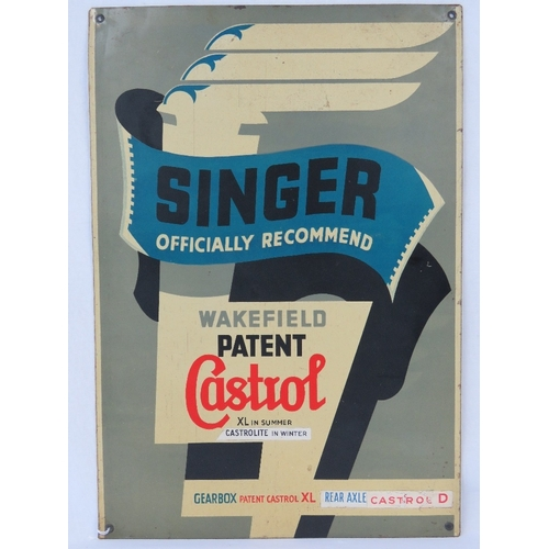 9 - A vintage Castrol advertising sign, 'Singer Officially Recommended', 48 x 33cm....