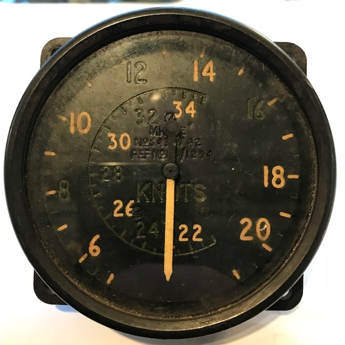 29 - An original WWII ASI Mk 9E knotmeter from an RAF Lancaster bomber reading to 340 knots and bearing s...