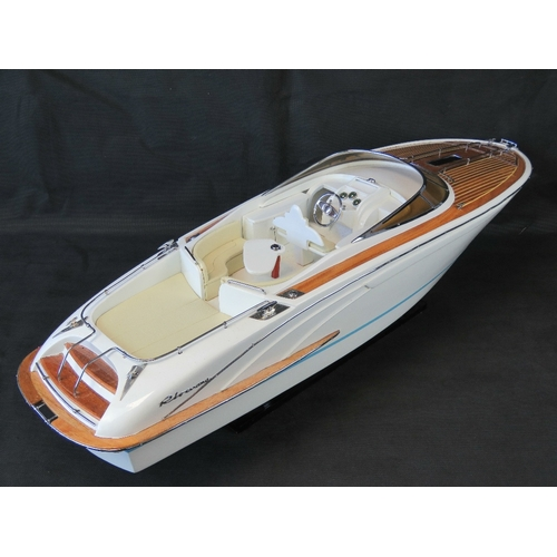 35 - A finely detailed handmade contemporary 1/10th scale static model; motor launch, complete with stand...