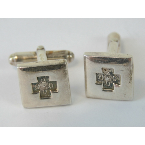 124 - A pair of square shaped HM silver cufflinks having '2000' millennium hallmark to front and full 925 ...