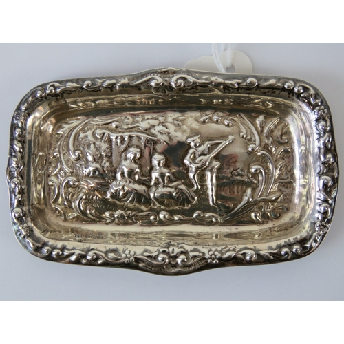 3 - A HM silver pin dish having repousse scene of nusician and audience upon, hallmarked Sheffield 1985,...