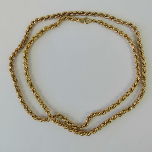 104 - A 9ct gold rope chain necklace measuring 62cm in length, hallmarked 375, 8.1g....