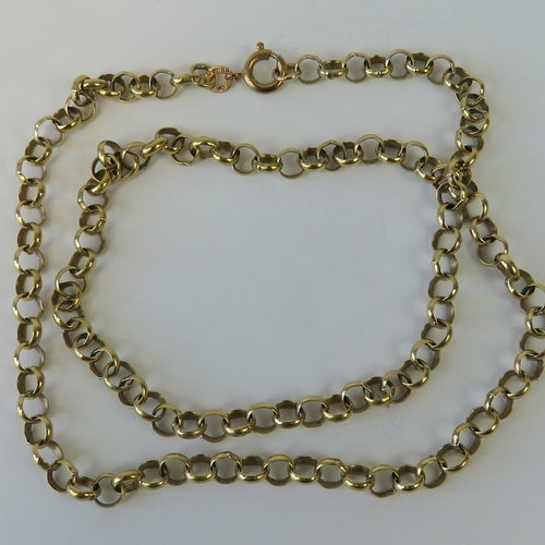 134 - A heavy 9ct gold belcher link necklace, hallmarked 375, 47cm in length, 12.5g....