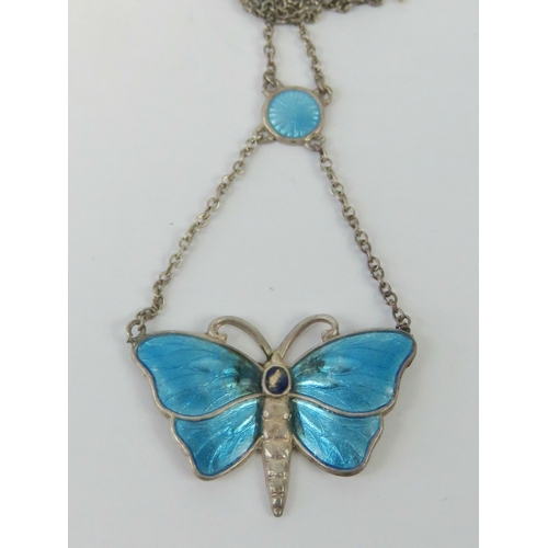 122 - A delightful Charles Horner Sterling silver Art Nouveau enamelled butterfly necklace, clasp a/f, CH ...