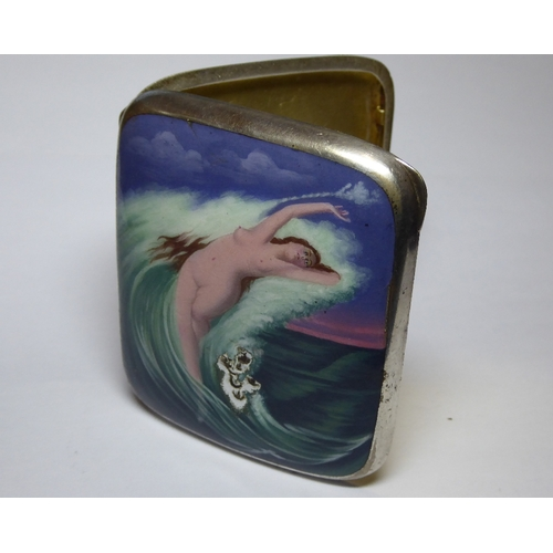 11 - An early 20th Century German heavy enamelled white metal cigarette case depicting a naked maiden fro...