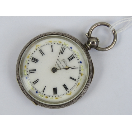 353 - A silver open face key wind fob watch having white enamel dial marked Ghita Swiss Made 100891, black...