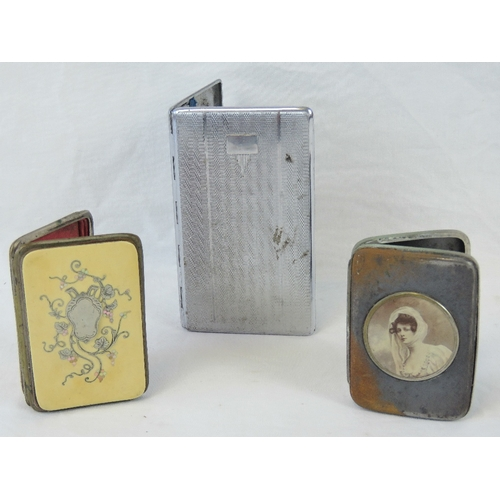 401 - A delightful plated needlecase with inlaid Ivorex panel and white metal cartouche, together with a p...