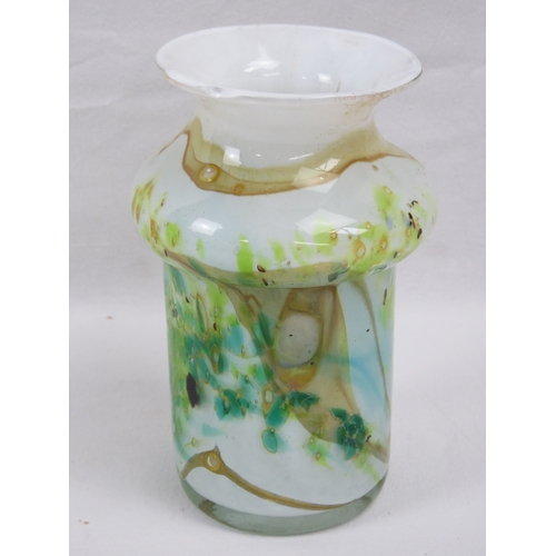423 - An unusual heavy overlaid Art Glass open necked vase in mottled greens and browns upon a white groun...