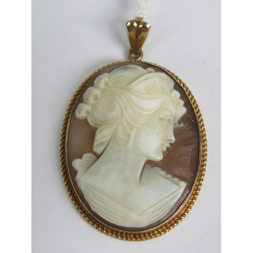 147 - A 9ct gold cameo pendant, the oval carved shell being a female portrait and mounted in rope twist de...
