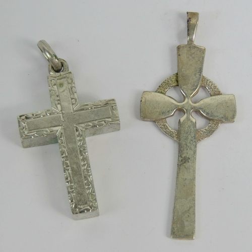148 - A HM Scottish silver Celtic cross pendant, 5cm in length, hallmarked Edinburgh 1900, together with a...