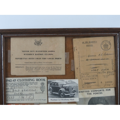 37 - A montage of WWII ephemera inc rations books, National Federation of Women's Institutes membership c...