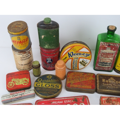 49 - A large quantity of circa WWII and later tins inc Swan Metal Polish, Piccadilly cigarette, Cow & Gat...