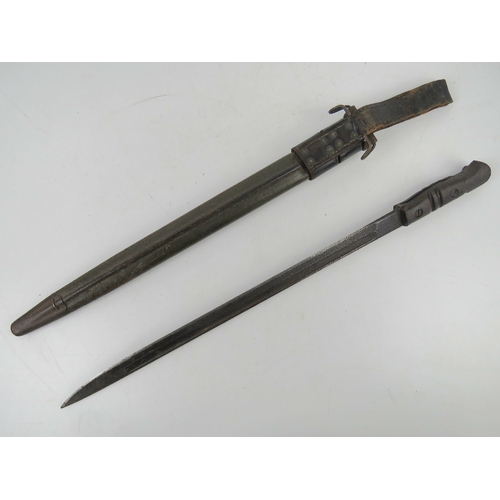 56 - A P14/17 bayonet 44cm blade and wooden grip, with scabbard and frog.