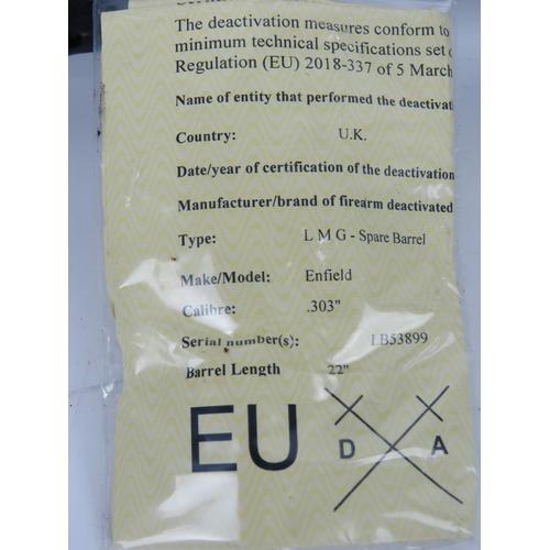 8 - A deactivated Bren Mk3 barrel, sn-LB53899, with EU certificate.
