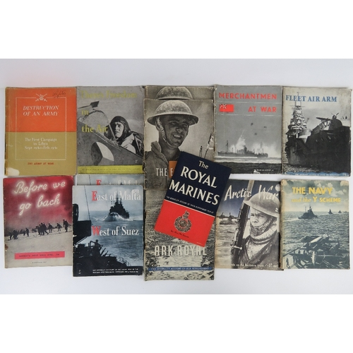 46 - A quantity of WWII themed books inc;  'The Royal Marines', 'Artic War', 'Ark Royal' etc, thirteen it...