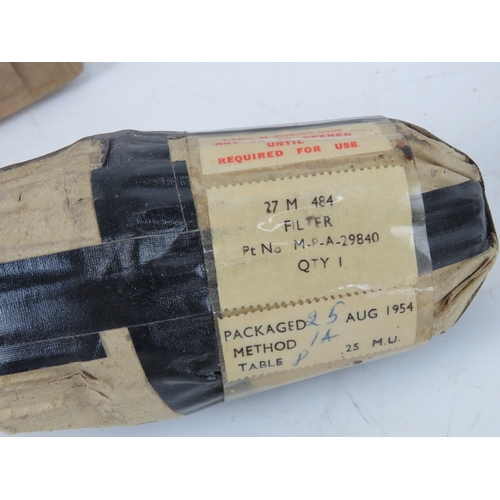 53 - An RAF Reducing valve and pipe, together with two 27m 484 filters and four bearings. From RAF Lossie...