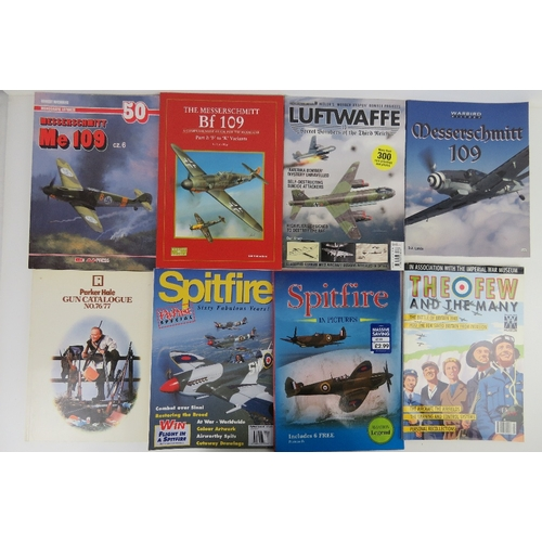 55 - A quantity of assorted military themed books inc: 'Mantrapping', 'The Fighting Me 109', 'Luftwaffe-S...