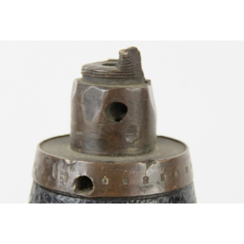 3 - An inert WWI British shrapnel round with case, dated 1916, standing 61cm high.