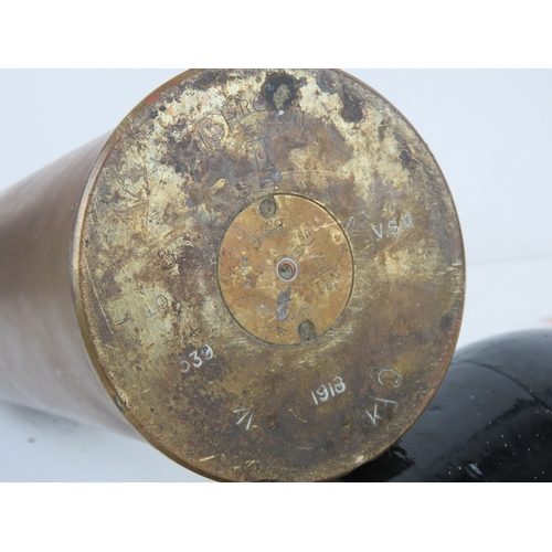 61 - An inert WWI British 13pr trench art shell case. Having AP projectile, dated 1918 with stamps upon. ...