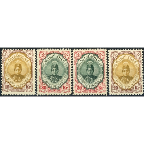 53 - 1911-13 - THREE HIGH VALUES:1911-13 10kr, 20kr & 30kr. Four mounted mint examples of each value. Fin...