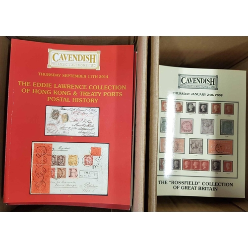 16 - CAVENDISH PHILATELIC AUCTIONS two boxes containing catalogues from 1997 to 2017 of mainly named or s...