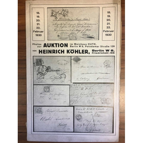 23 - HEINRICH KOHLER - sale 62 plates, 63 text and plates. Also February 1930 sale plates only, and sale ...