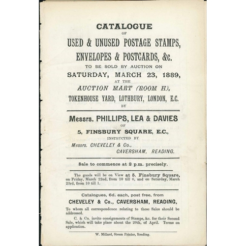 25 - PHILLIPS, LEA & DAVIES & RIDOUT AUCTION CATALOGUES; Disbound group inc. Phillips Lea & Davies Sales ...